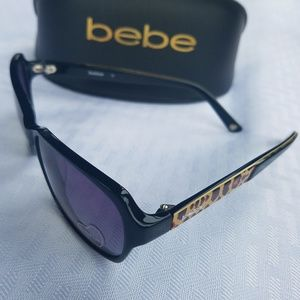 BEBE HUNGRY EYES Black Cheetah Sunglasses